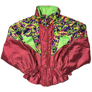 Descente Burgundy Neon Pattern Jacket