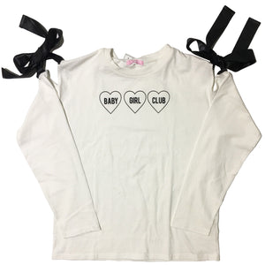 W♡C Baby Girl Club Ribbon Shoulder Longsleeve Shirt