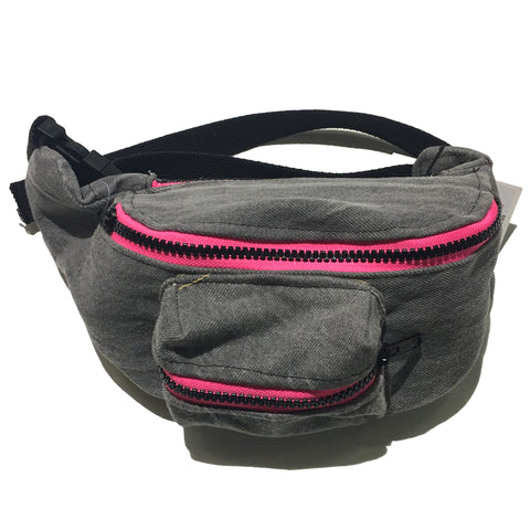 Black Acid Denim Fanny Pack