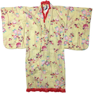 Pastel Yellow Flowers and Lanterns Haori