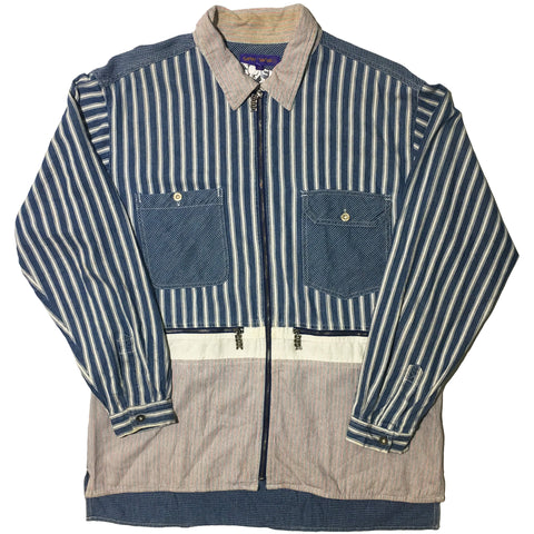 Saint-Saens Striped Collared Zip Up Shirt