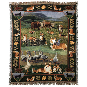 Gone Doggin Large Corgi Tapestry