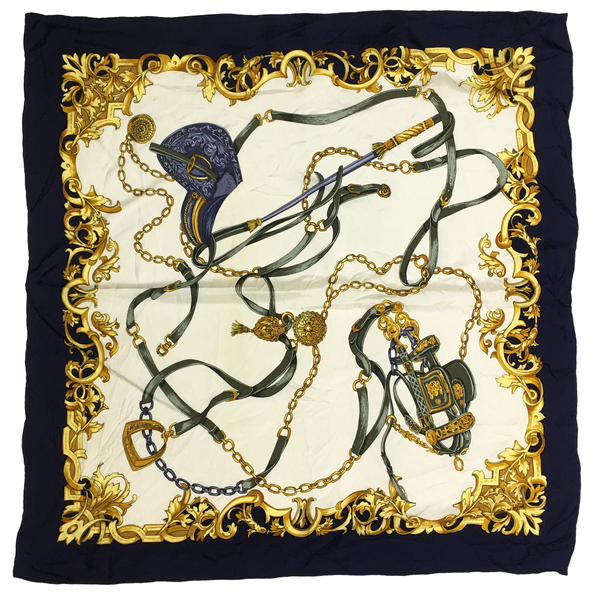 Gold Horseback Riding Silk Square Scarf