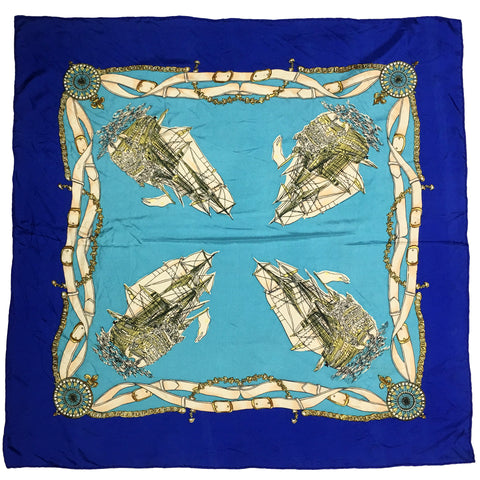 Compass & Ship Silk Square Scarf