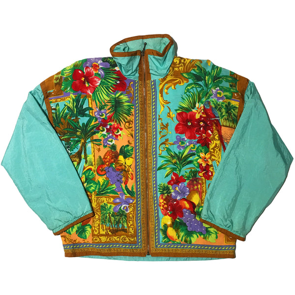 Baroque Style Teal Fruit & Flower Jacket
