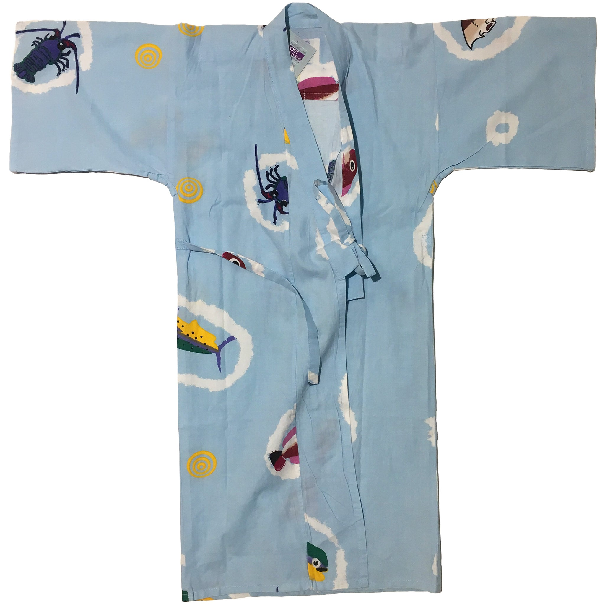 Light Blue Crustacean Kids Yukata