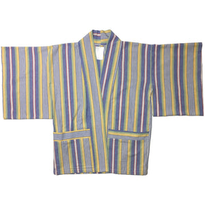 Yellow, Blue, Green, White, Yellow Striped Haori