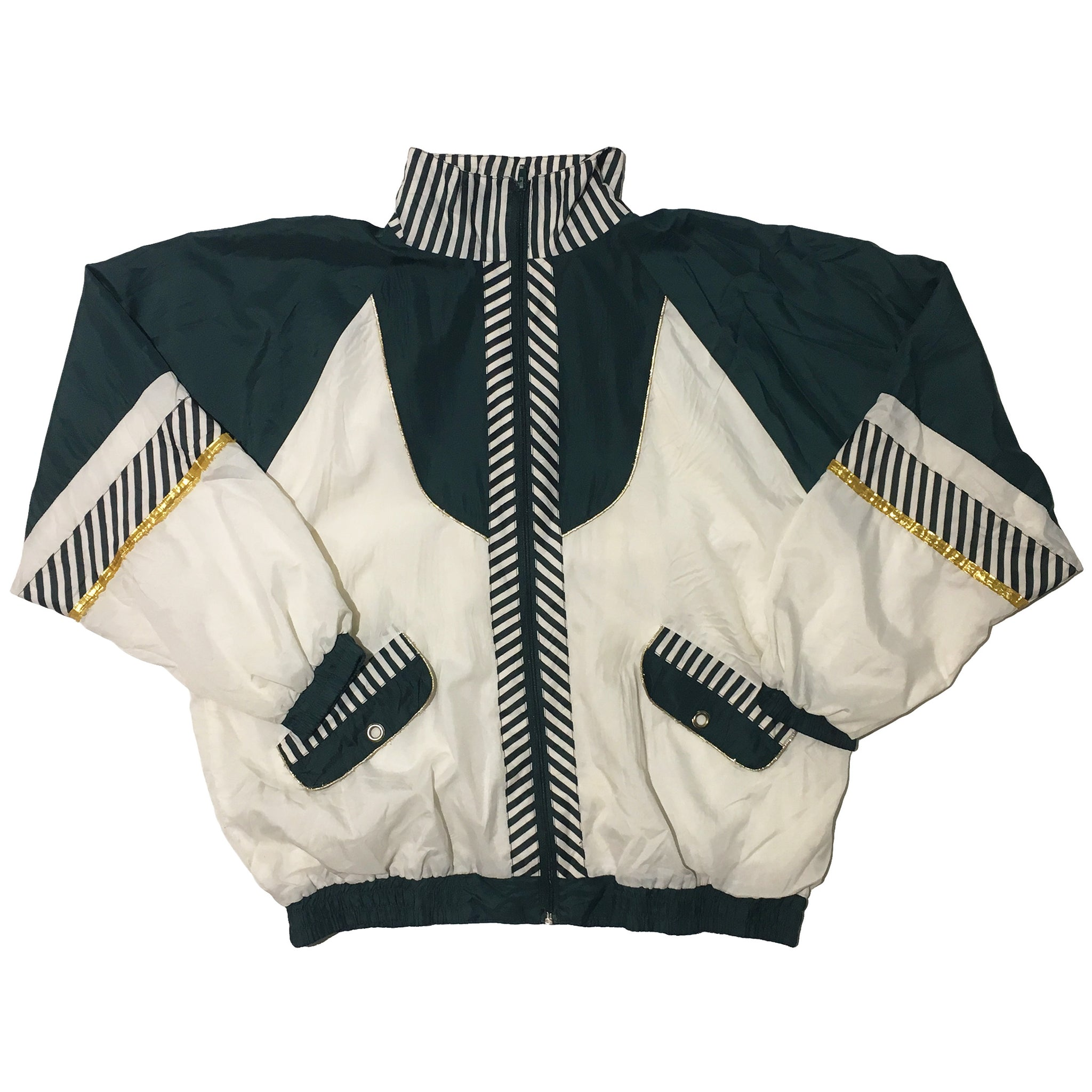 White & Green Stripe Jacket with Gold Accents