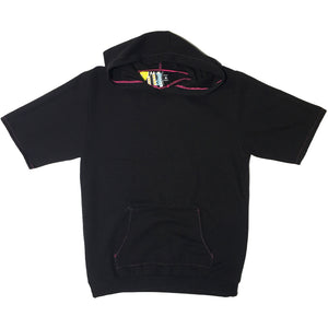 Black with Pink Stitching Blim Made Short Sleeve Hoodie
