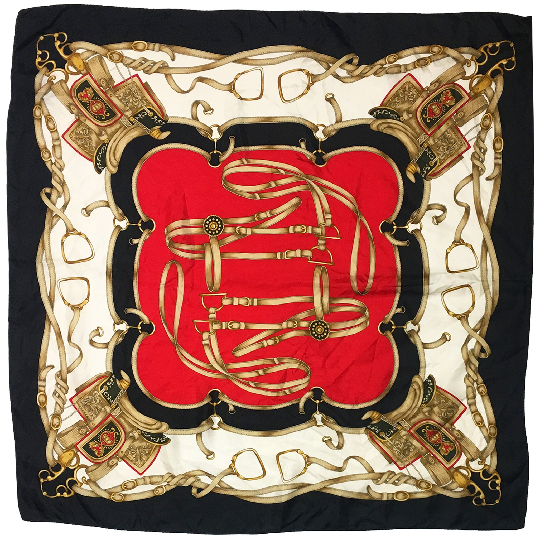 Gold & Red Horseback Riding Silk Square Scarf
