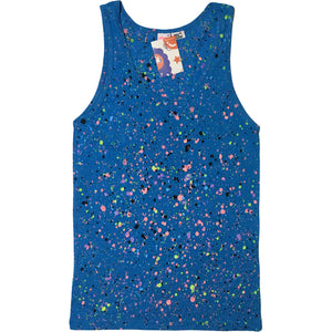 Blue Hand Splattered Tank Top