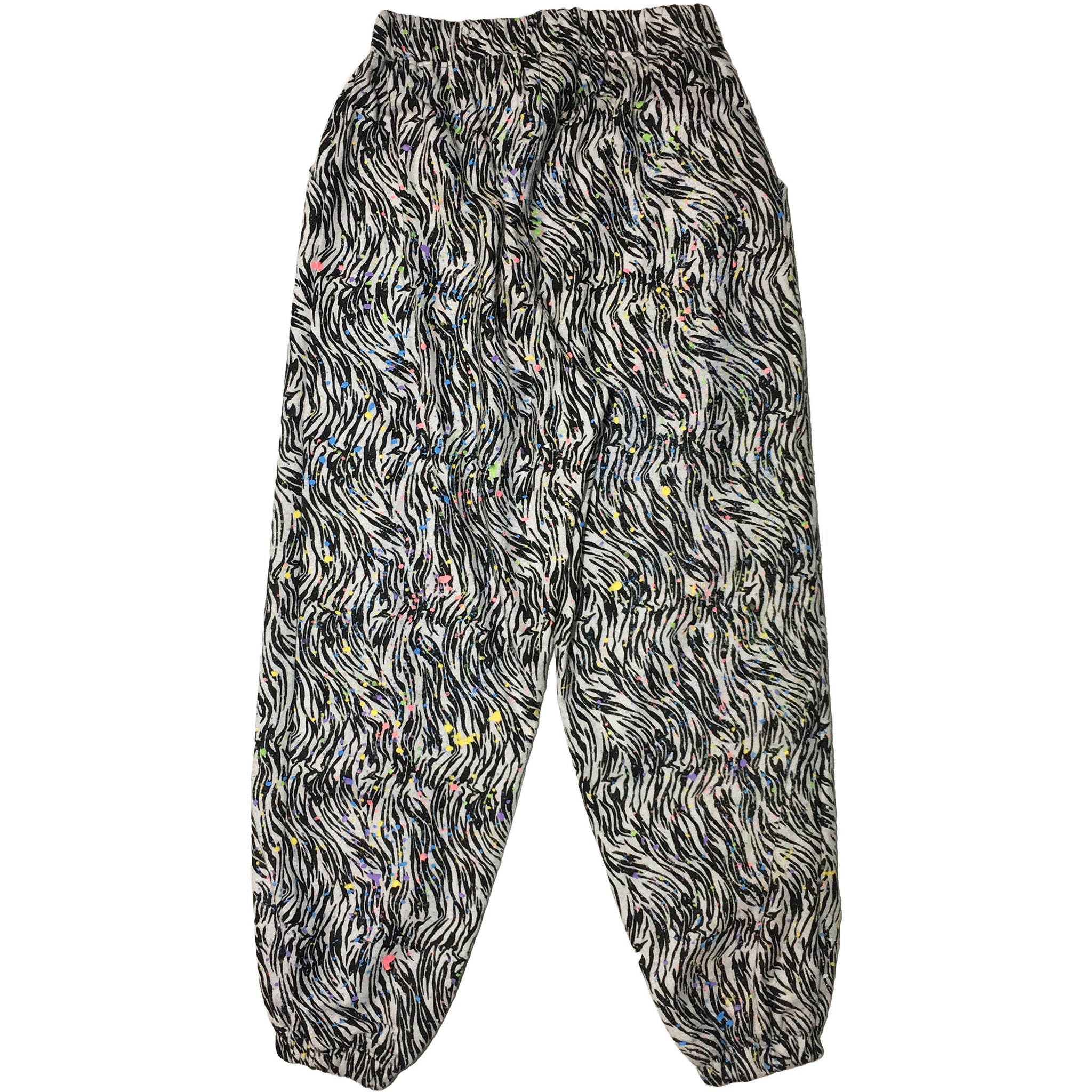 Hand Splattered Zebra Print Pants