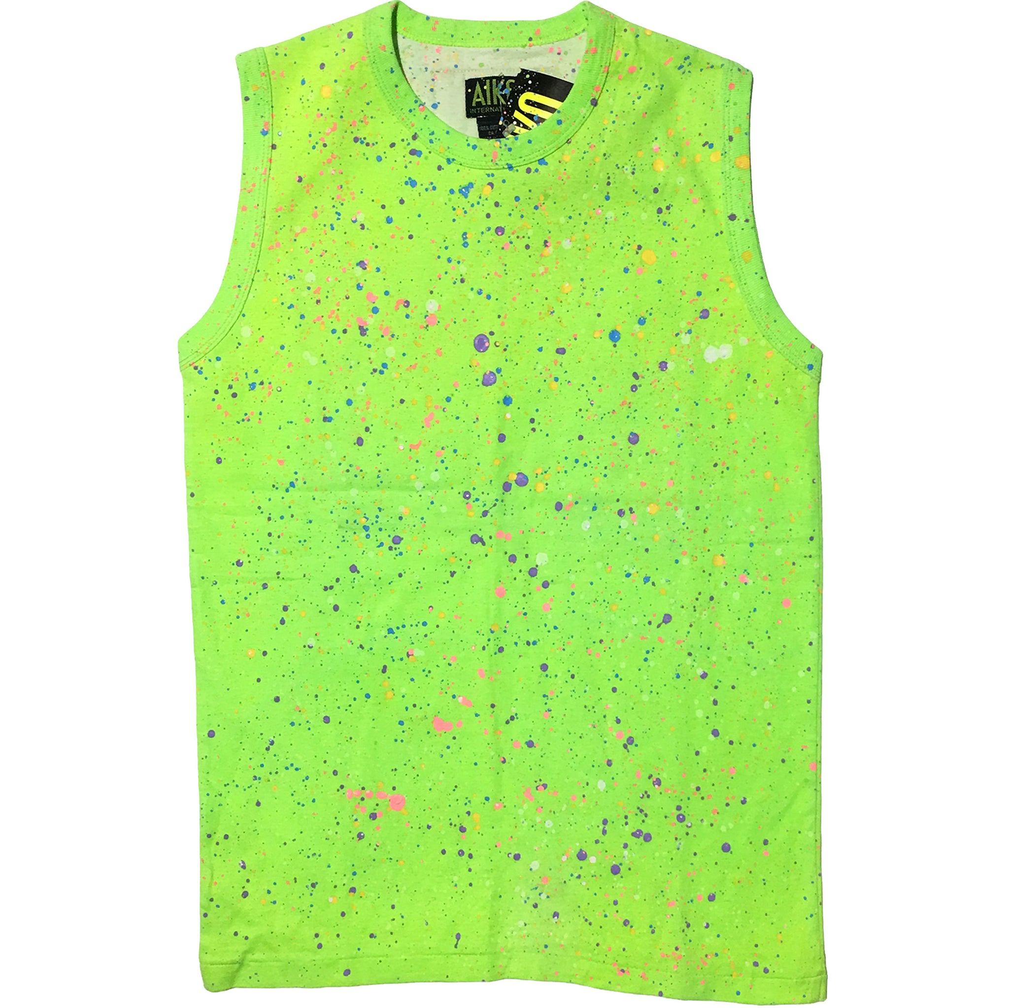 Aiko Sports Neon Green Splattered Tank Top
