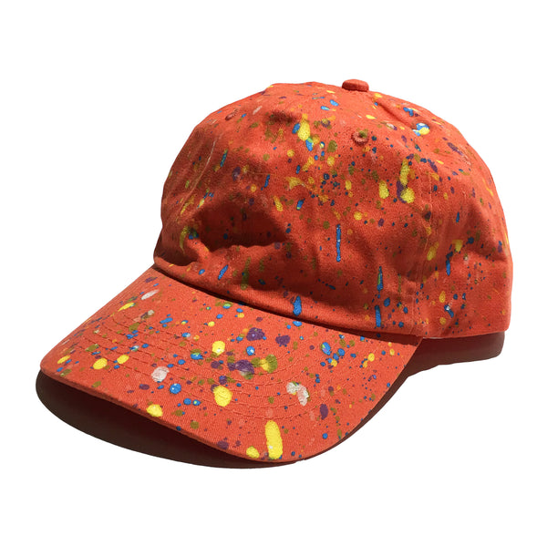 Orange Hand Splattered Dad Hat