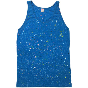 Neon Blue Hand Splattered Tank Top
