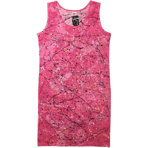 Tease Shirts Pink Hand Splattered Long Tank Top