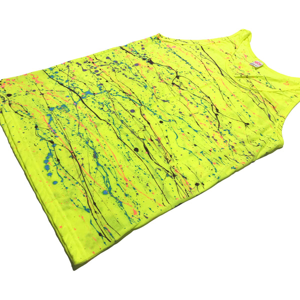 Neon Yellow Hand Splattered Tank Top