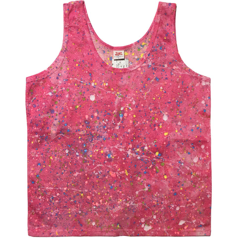 Tease Shirts Pink Hand Splattered Tank Top