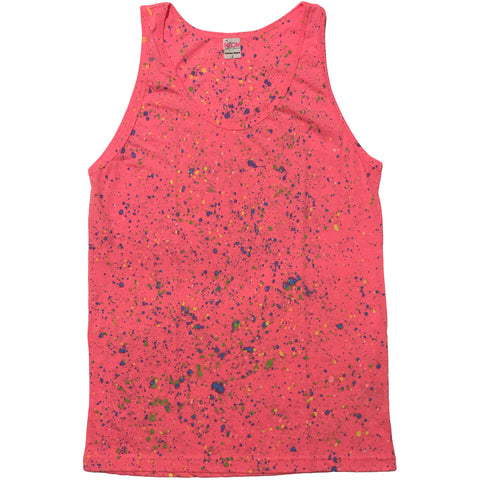 Neon Pink Hand Splattered Tank Top