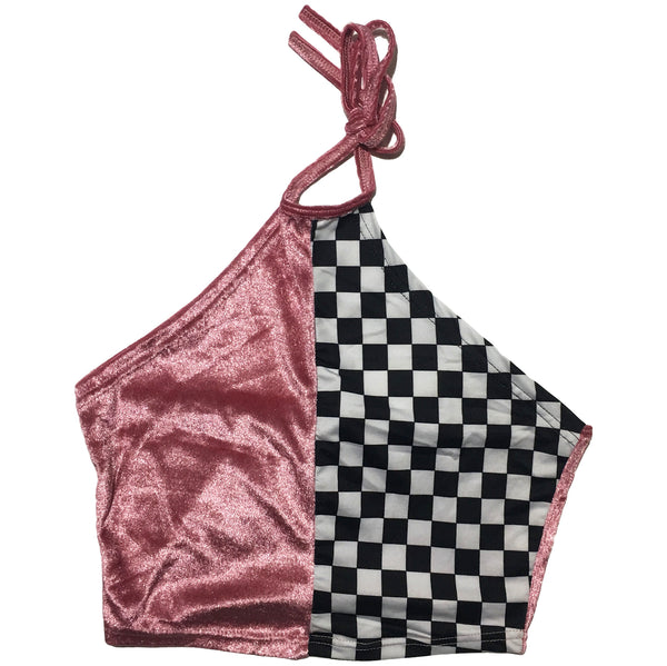 Pink & Checkered Crop Top
