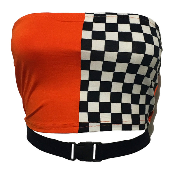 Orange & Checkered Tube Top With Buckle Strap