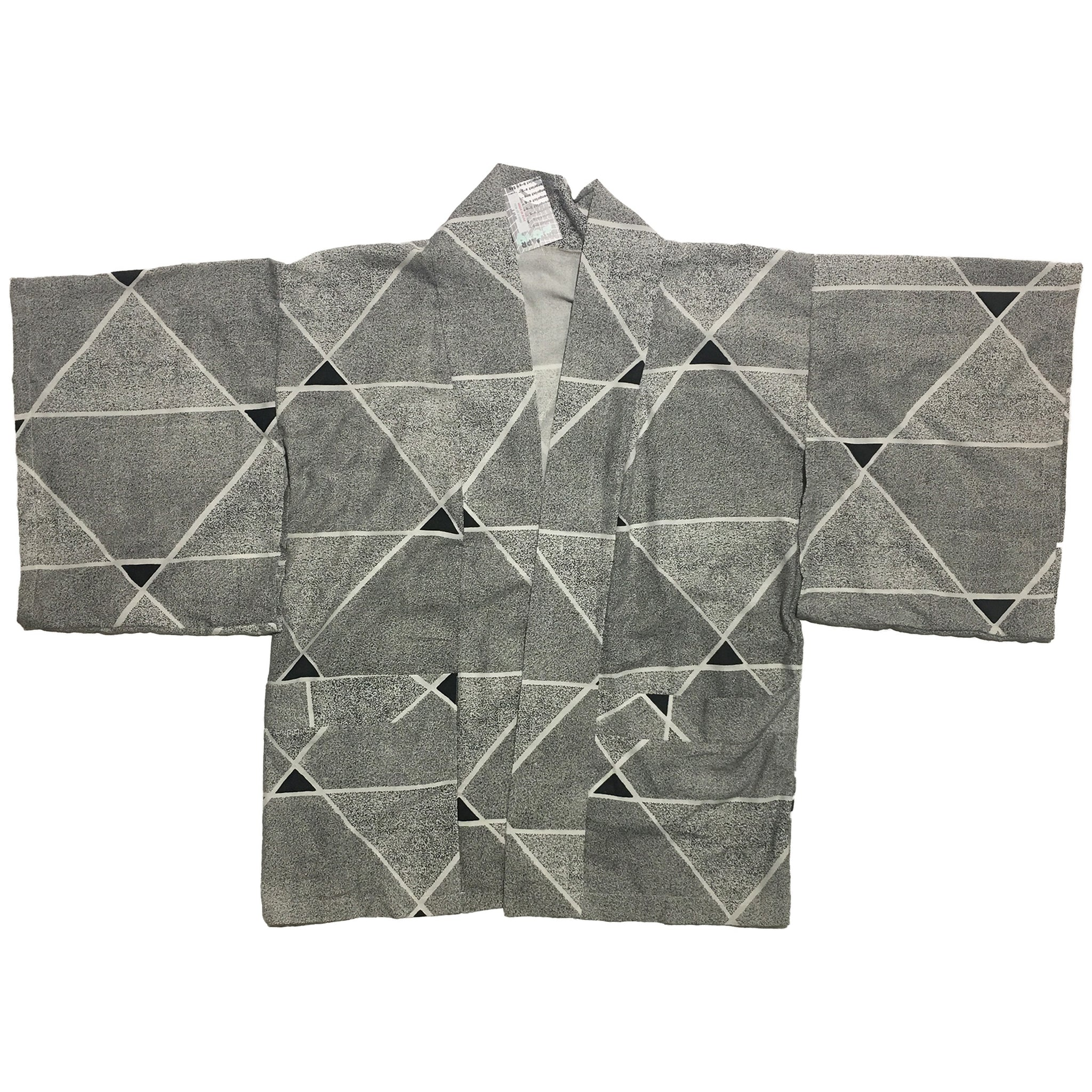 Black and White Speckled Triangle Pattern Haori