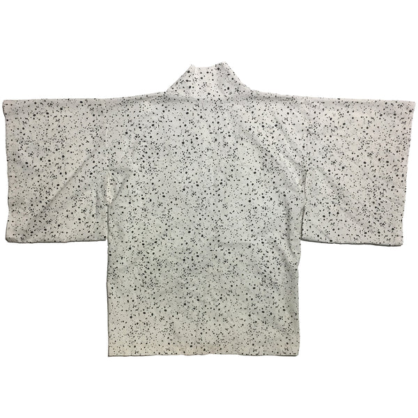 Black and White Small Dot Splatter Pattern Haori