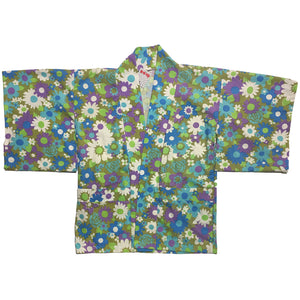 Purple, White and Blue Flower Pattern Haori