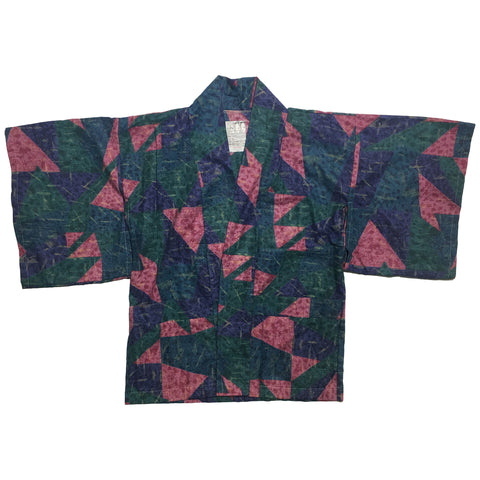 Deep Purple, Green, and Blue Triangle Pattern Haori