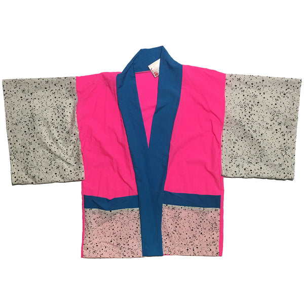 Neon Pink, Blue, and Splatter Print Haori