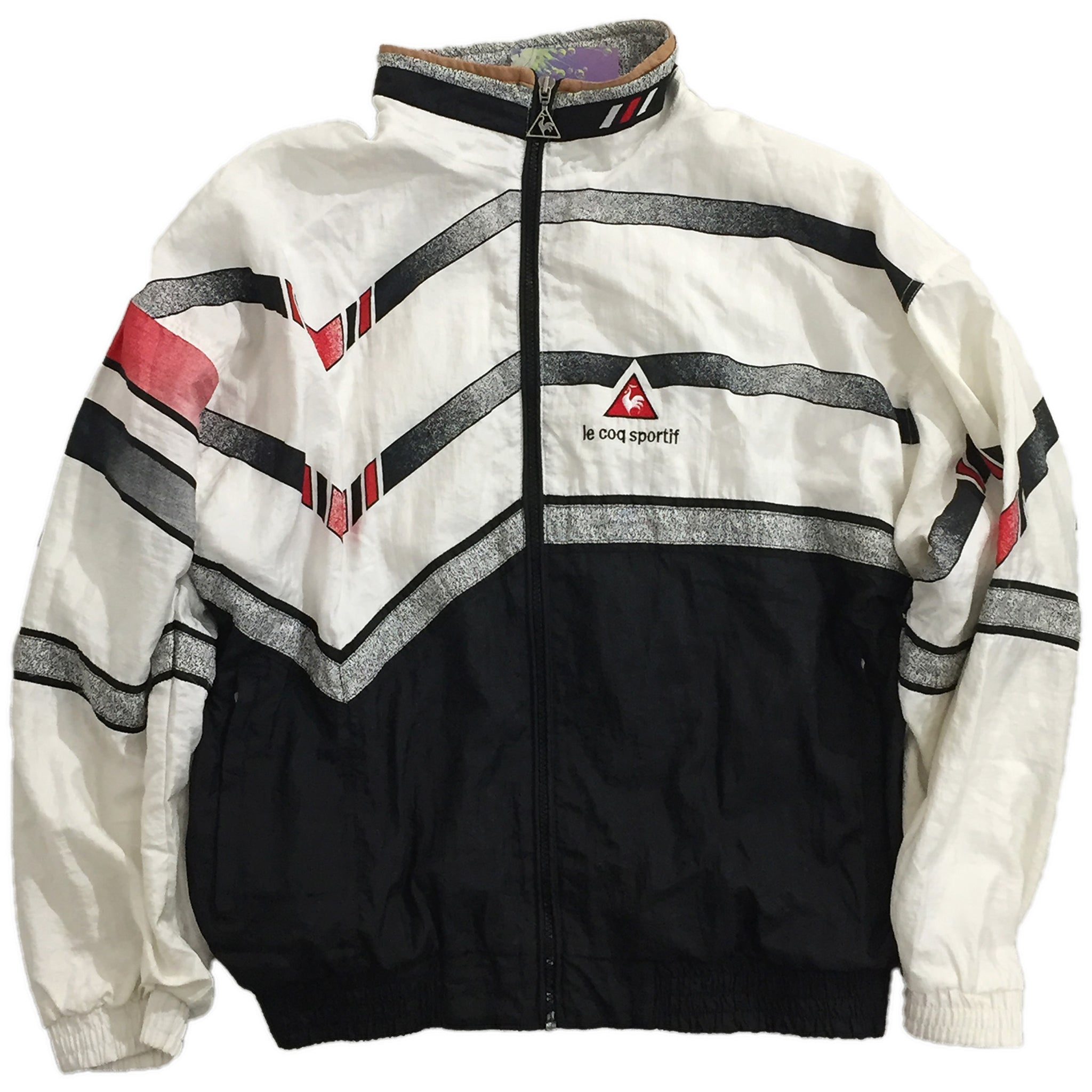 Le Coq Sportif White, Black, and Red Accent Track Jacket