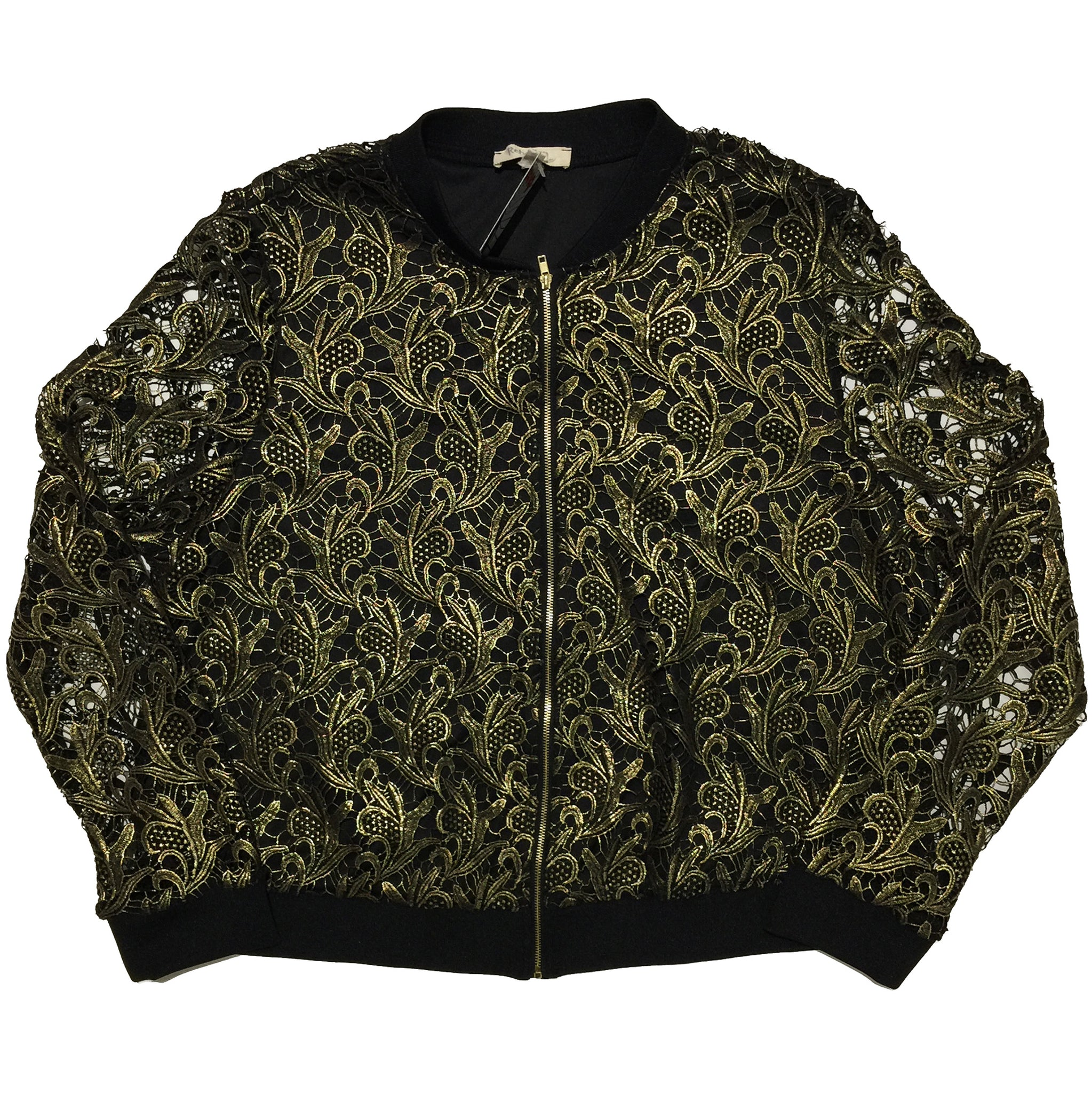 Rebellion Again Black Jacket with Gold Embellishment and Sheer Sleeves