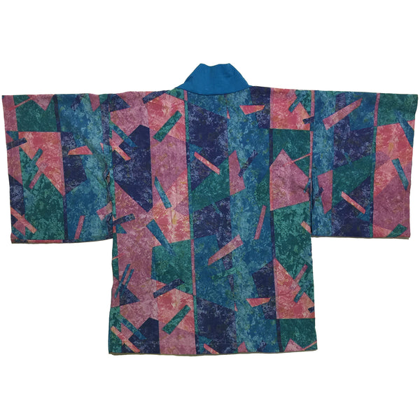 Deep Purple, Green, and Blue Abstract Print Haori