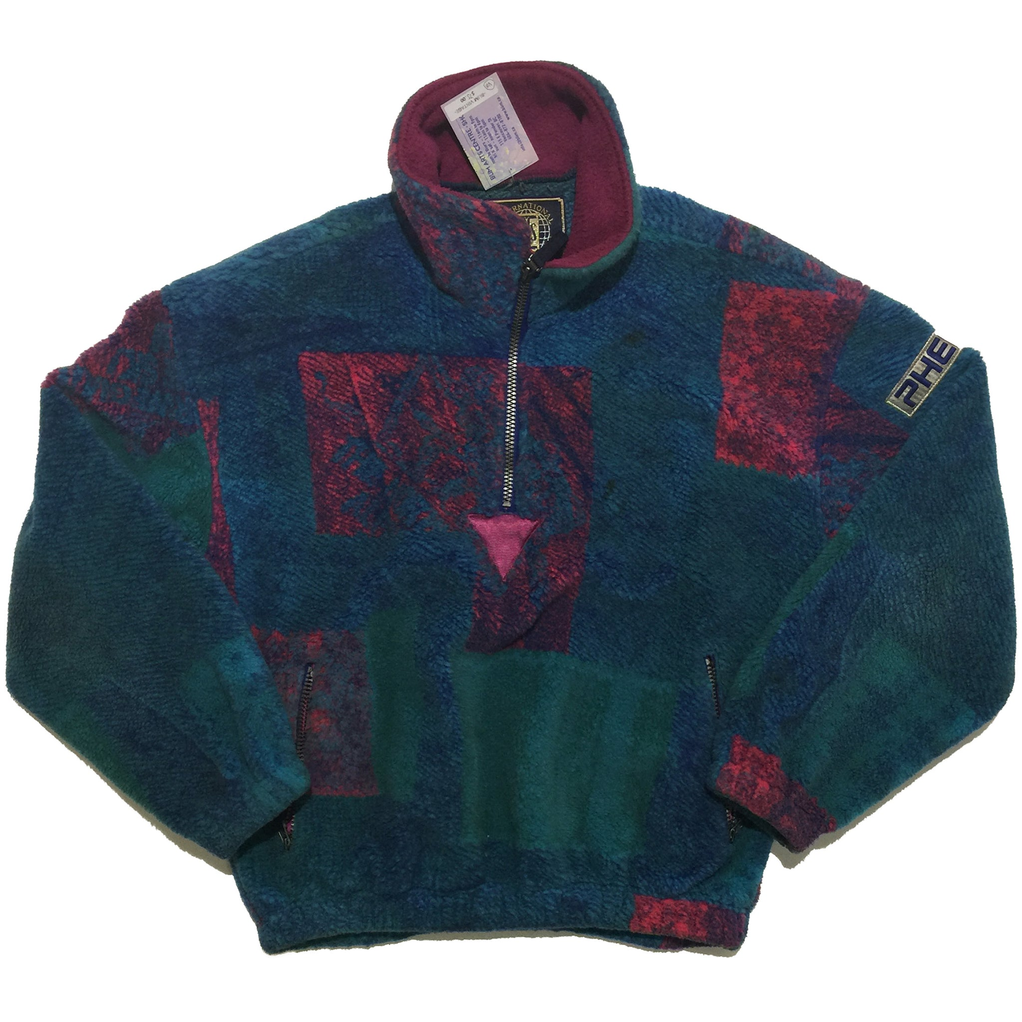 Phenix Blue, Green, and Red Polyester and Acrylic Half Zip Sweater