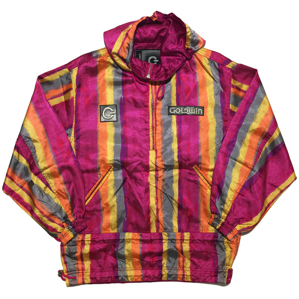 Goldwin Striped Pink, Orange, Yellow, Grey Half Zip Jacket