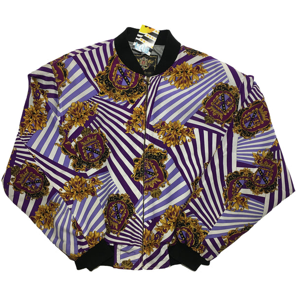 L'Studio Purple Crest and Stripe Pattern Jacket