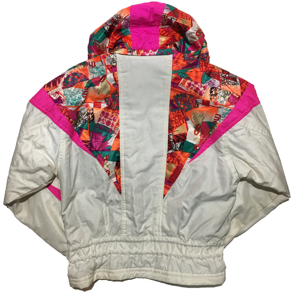 Descente White Pink and Abstract Pattern Jacket