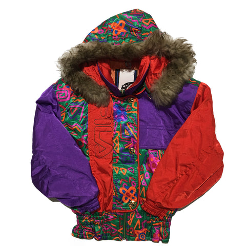 FILA Purple Red and Abstract Pattern Fur Hood Jacket
