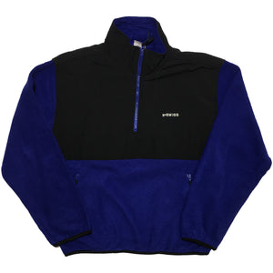 K-Swiss Black Nylon and Blue Fleece Half Zip Jacket