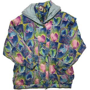 HEAD Blue, Green, and Pink Water Colour Heart Jacket