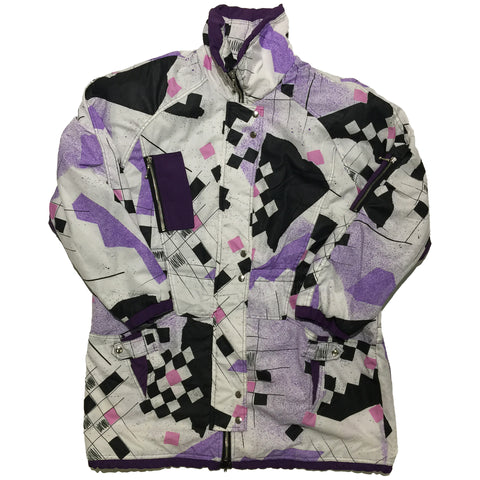 White, Purple, Pink Square Pattern Jacket