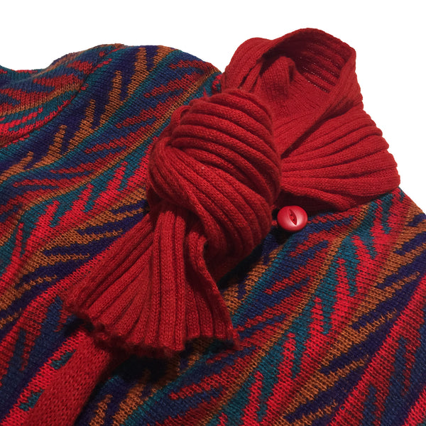 Karizma Knit Red Button-Up Sweater with Knit in Scarf