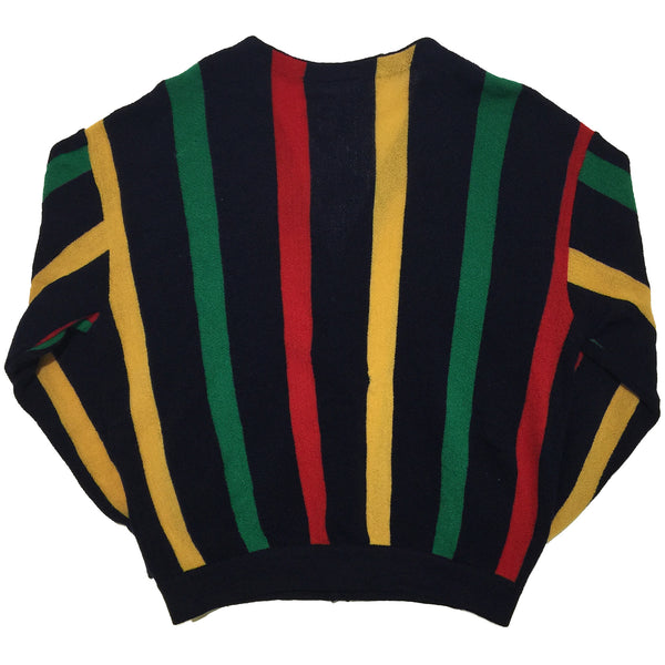 Lacoste Yellow, Green, Red Striped Cardigan