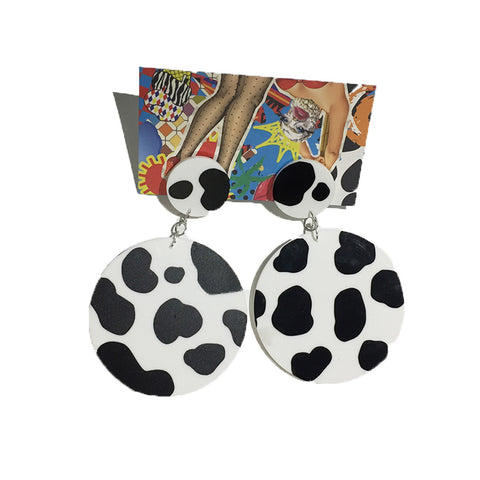 Round Cow Print Earrings by King of Hearts