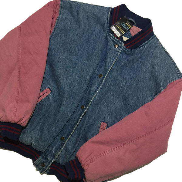 Denim Jacket with Pink Sleeves