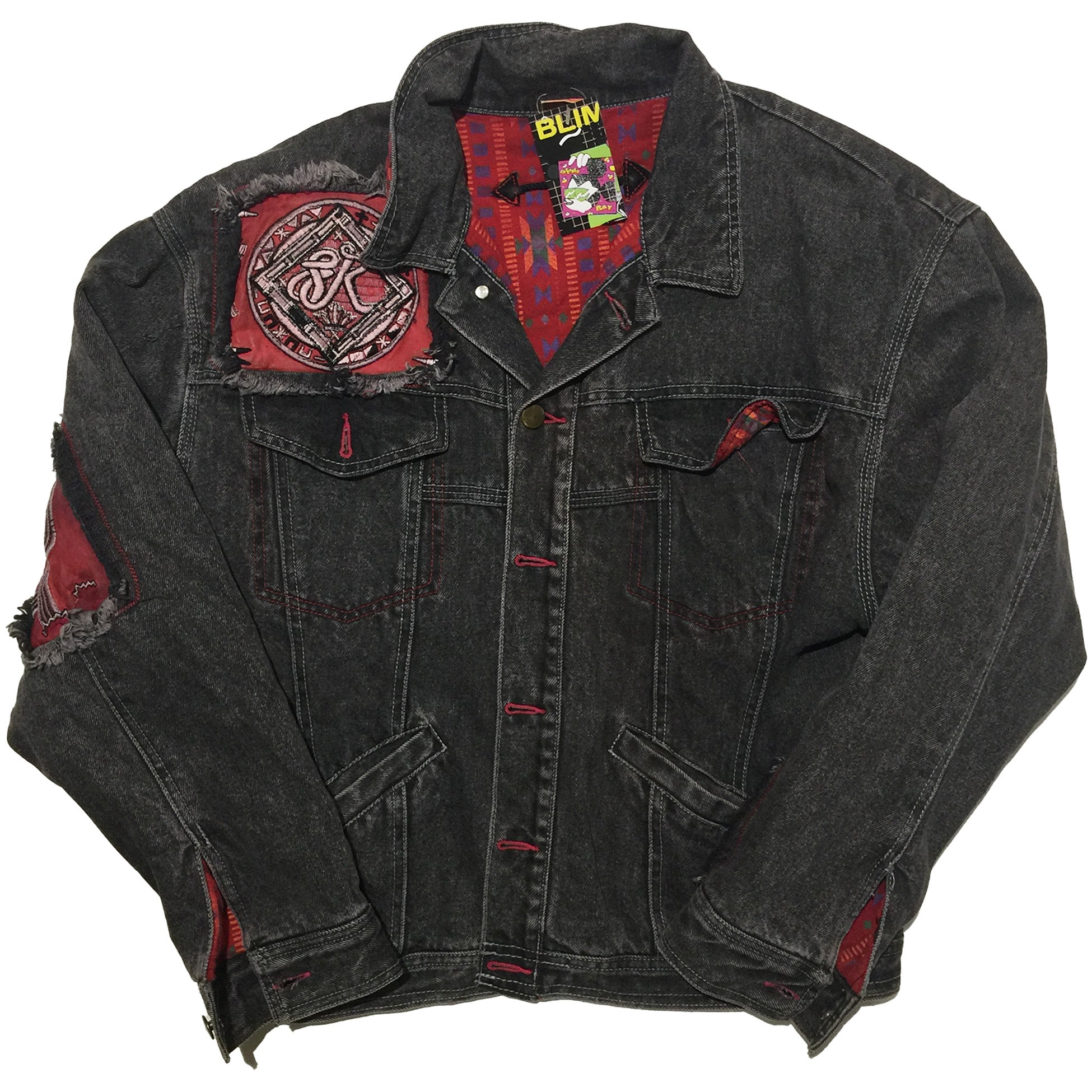 Red Accent Overwashed Denim Jacket