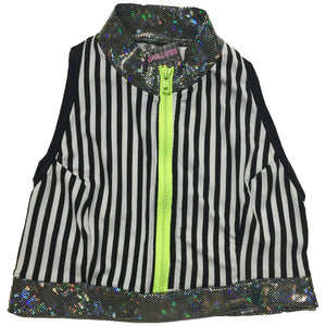 Gypsywolf Zipper Front Striped Vest
