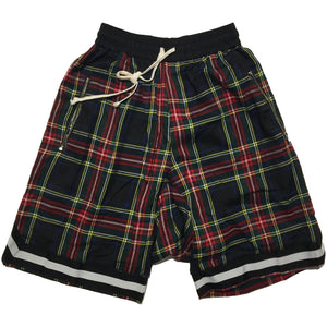 Red and Black Checkered Drop Crotch Shorts