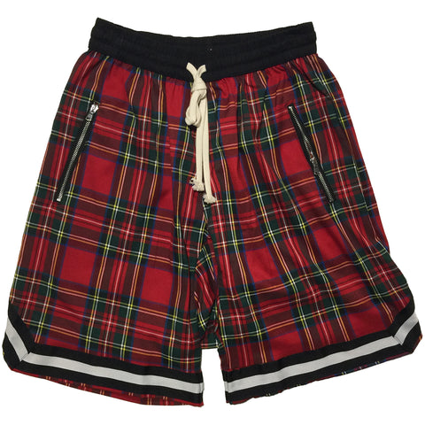 Red Checkered Drop Crotch Shorts