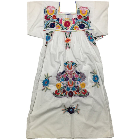 Flower Embroidery Embellished White Dress